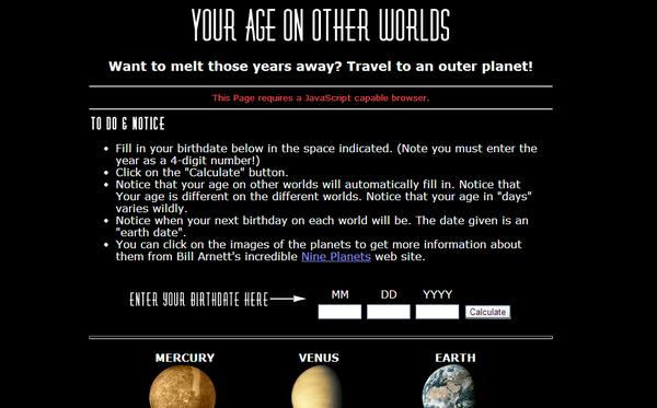 Votre âge sur les autres planètes