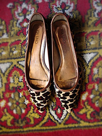 Ballerines escarpions imprimé leopard cuir poils, 39