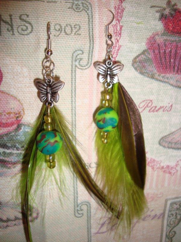 Boucles d'oreilles papillon et plume