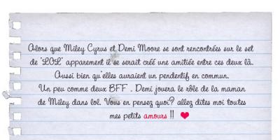 Miley et Demi More trés amies