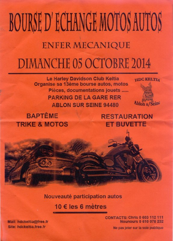 BOURSE  D'ECHANGE  MOTOS  AUTOS  LE  DIMANCHE  05  OCTOBRE  2014  A  ABLON  SUR  SEINE  94