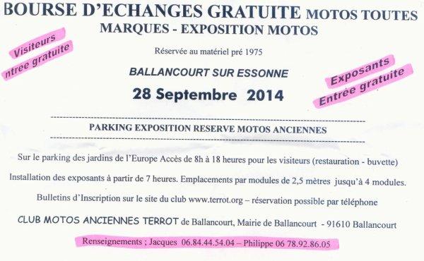 BOUSE  D'ECHANGE  MOTOS LE  28  SEPTEMBRE  2014  A  BALLANCOURT  SUR  ESSONNE