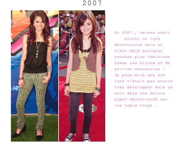 Quelque tenue d'années en années par Selena Gomez !