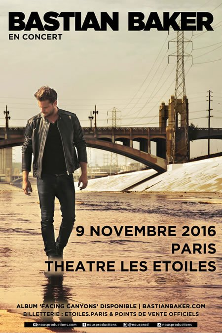 Bastian Baker en concert au théâtre Les Etoiles à Paris le 9 novembre