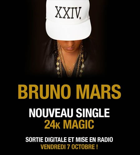 "Bruno Mars : sortie le 7 octobre de son nouveau single, ""24K Magic"""
