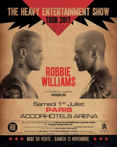 Robbie Williams en concert à l'AccorHotels Arena à Paris en 2017