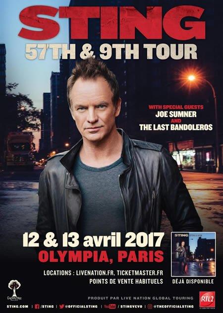 Sting en concert à l'Olympia à Paris les 12 et 13 avril 2017