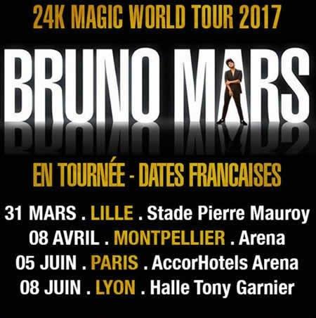 Bruno Mars se produira en France en 2017 pour quatre concerts