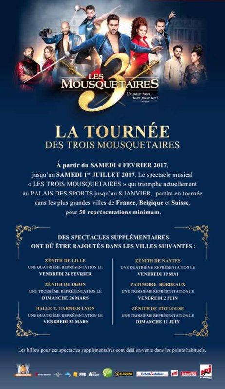 """""""Les 3 Mousquetaires"""" : nouvelles dates ajoutées à la tournée"""