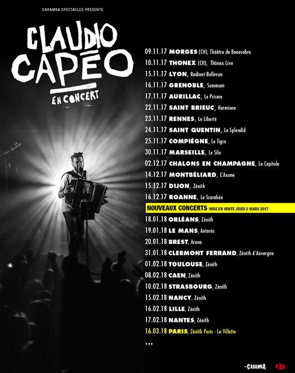 Claudio Capéo prolongera sa tournée en 2018