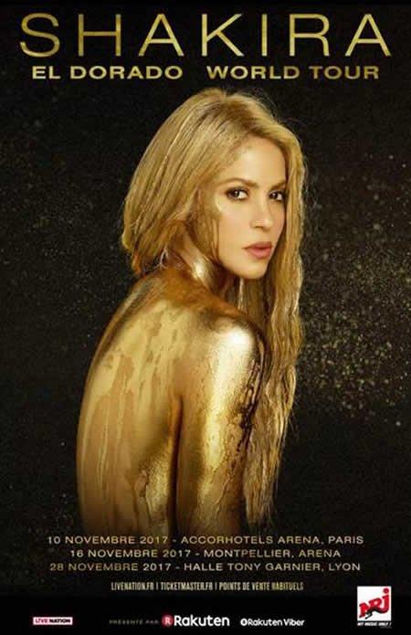 """Shakira annonce 3 concerts en France lors de son """"El Dorado Tour"""""""