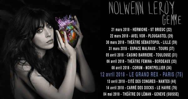 """Premières dates du """"Gemme Tour"""" 2018 de Nolwenn Leroy"""