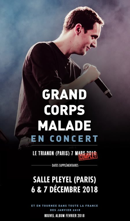 Grand Corps Malade annonce 2 dates supplémentaires à Paris en 2018