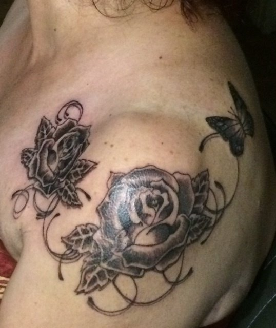 Roses et Papillon entrelacés