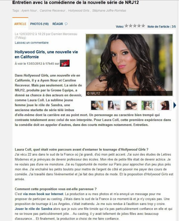 Interview de Laura coll ( Sandra ) de Hollywood girls.