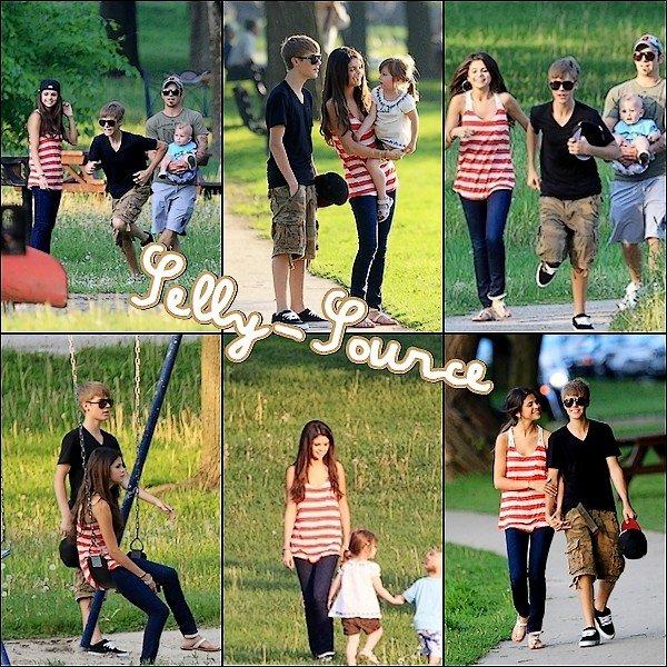 Le 1er Juin: Selena G. & Justin B. dans un parc à Toronto.
