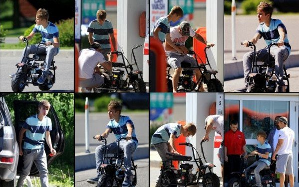 Justin Bieber fait de la mini moto pendant son séjour a Straford.