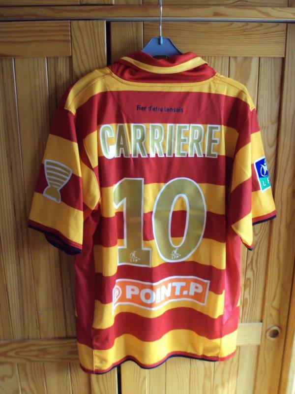 Maillot de Lens porté par Eric Carriere en coupe de la ligue saison 2007:2008
