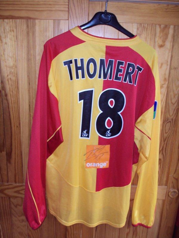 Maillot de Lens porté et  dédicacé par Olivier Thomert saison 2002/2003 a vendre