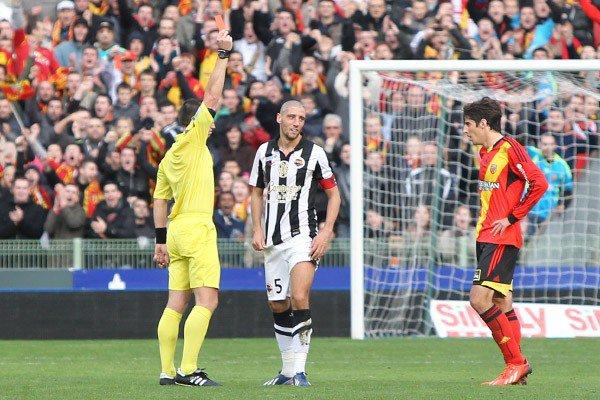 Maillot de Lens porté par Pablo Chavarria contre Caen saison 2013/2014