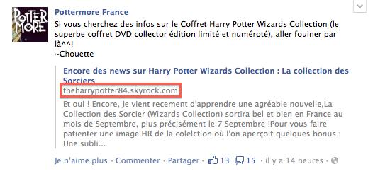 Pottermore à mi un lien vers mon blog sur leurs Facebook !!