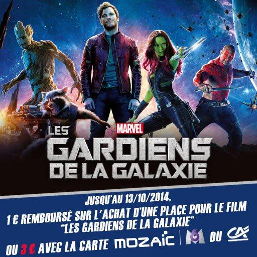 Jusqu'à 3¤ de remboursés sur l'achat d'une place pour le film Les Gardiens de la Galaxie avec Skyrock Cashback !