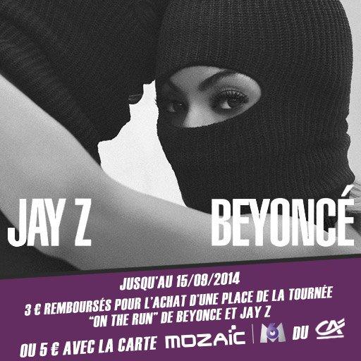 """Top ! Jusqu'à 5¤ en cashback sur les dernières places du concert """"On the Run"""" de Beyoncé & JAY Z !"""