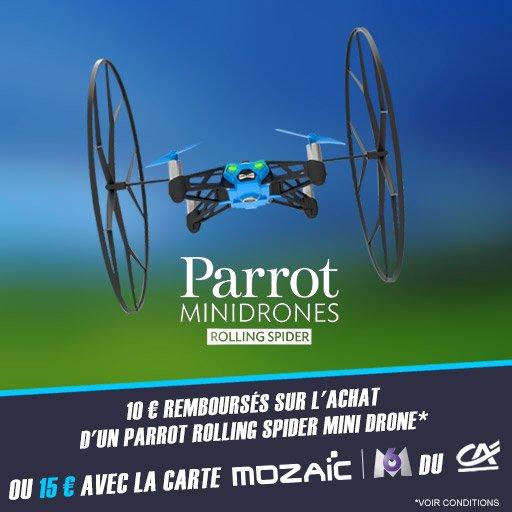 Jusqu'à 15¤ remboursés sur le Parrot Rolling Spider Mini Drone !