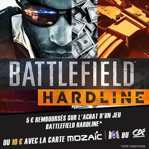 Jusqu'à 10¤ remboursés sur le jeu Battlefield Hardline sur l'appli Skyrock Cashback !