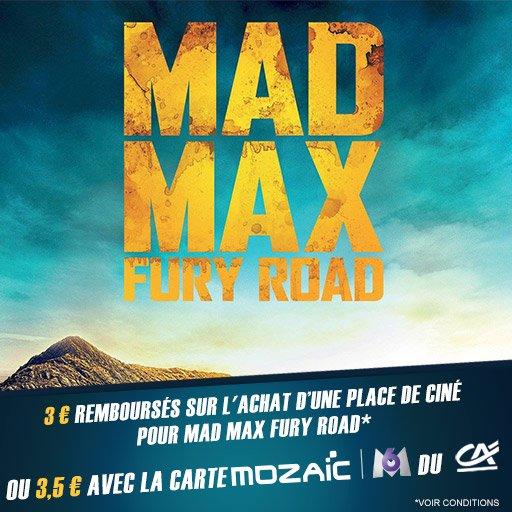 Profite de 3,5¤ remboursés sur ta place de ciné pour Mad Max Fury Road !