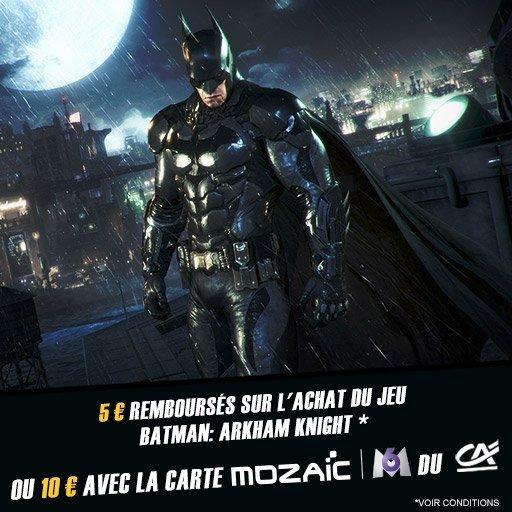 Jusqu'à 10¤ remboursés sur le jeu BATMAN : ARKHAM KNIGHT !