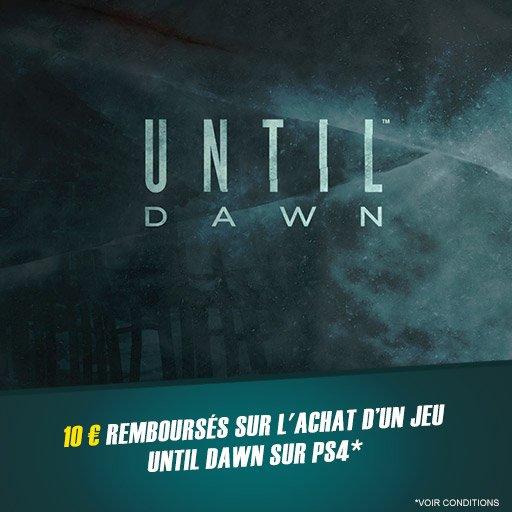 10¤ remboursés sur l'achat du jeu Until Dawn sur PS4 !