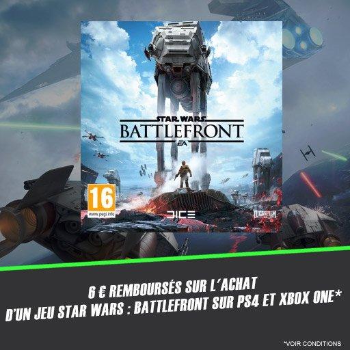 Profite de 6¤ remboursés sur le jeu Star Wars : Battlefront !