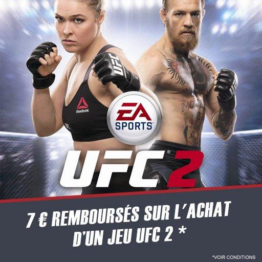 Profite dès maintenant 7¤ remboursés sur le jeu UFC 2 sur PS4 ou Xbox One via l'appli !