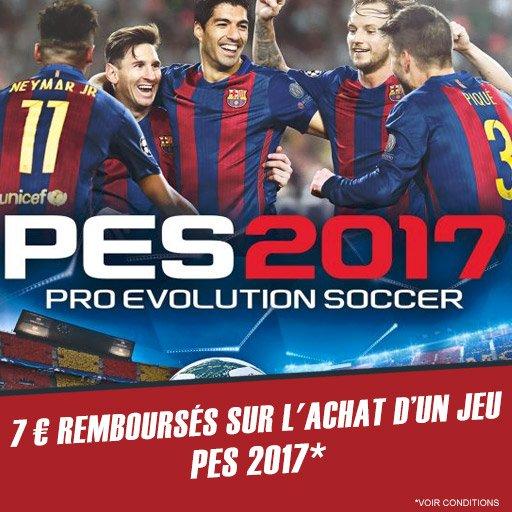 Profite de 7¤ remboursés sur le jeu PES 2017