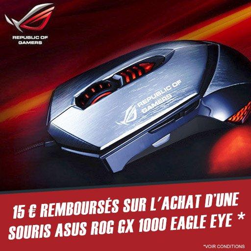 15¤ remboursés sur l'achat de la souris de gaming Asus GX1000 Eagle Eye !