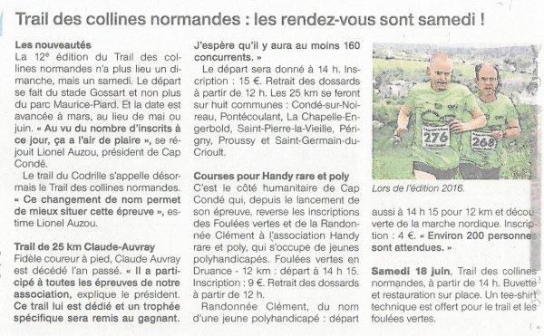 Lire article précédent - Le Trail des Collines Normandes !