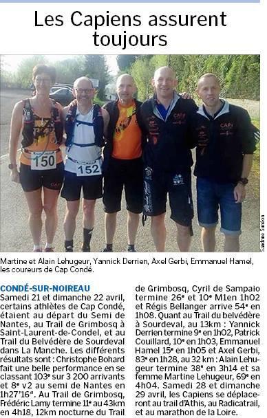 à venir : l'Audacieuse, Athis, Le Radicatrail,Erquy ,l'Ultra trail Breton Le marathon de la Loire...quel programme!