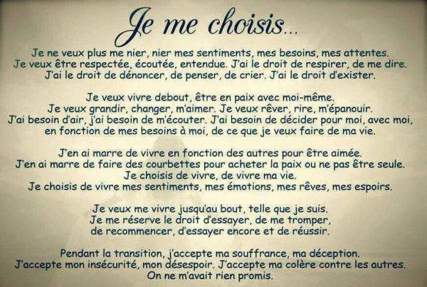 Je me choisis....
