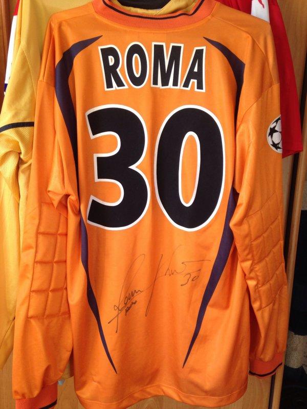 Magnifique maillot porter est dédicacé  par flavio roma en quart de finale de ligue des champions contre le réal de Madrid le 6 avril 2004 victoire 3-1