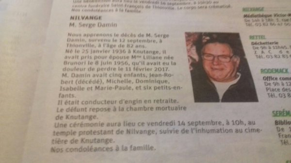 Avis de décès: Serge Damin dit Papy le 12/08/2018 à 82 ans.