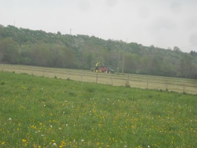 Chantier d'ensilage d'herbe.