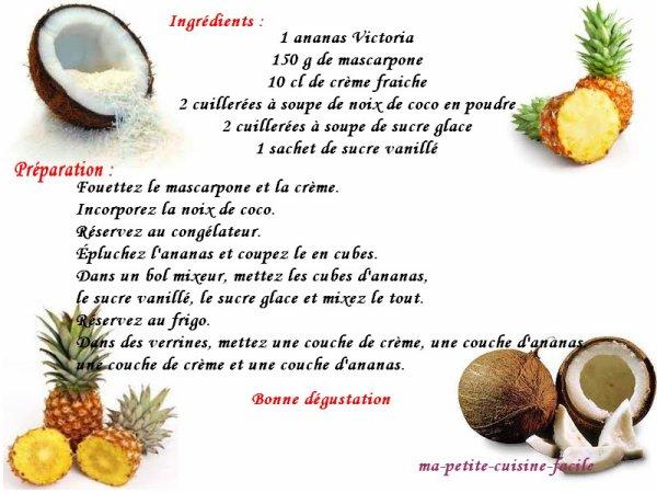 Verrine d'ananas à la mousse de coco
