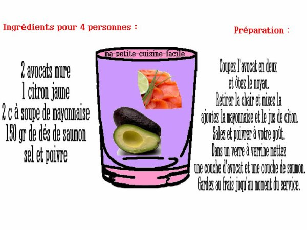 Verrine de saumon et avocat