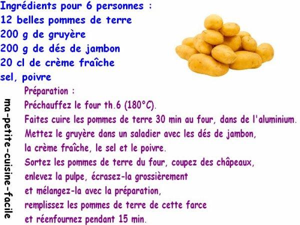 Pommes de terre farcies au dés de jambon