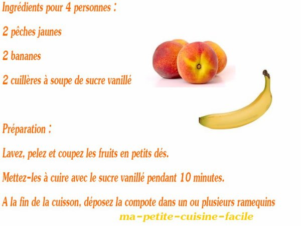 Compote pêches bananes