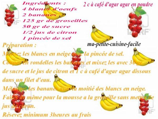 Mousse bananes et groseilles