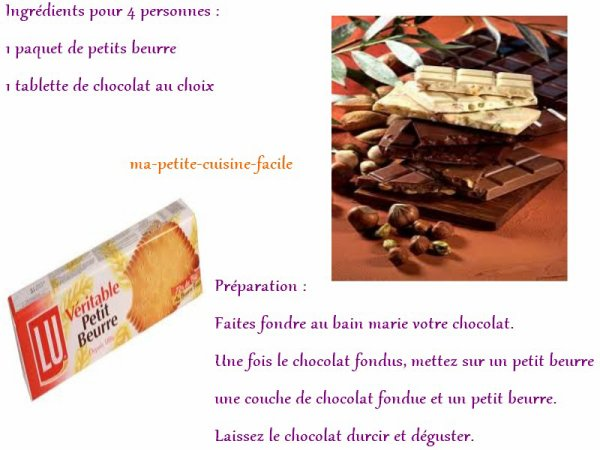 Sandwich aux petits  beurres au chocolat