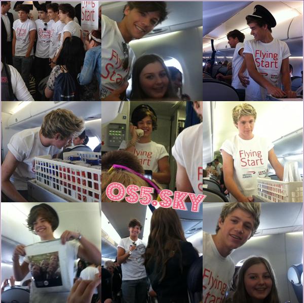 21/07/2012:Les One Direction ont pris un vol pour Manchester avec les gagnants de British Airways' Flying Start  . Découvrez des photos ainsi que des vidéos prises dans l'avion et à l'aéroport :