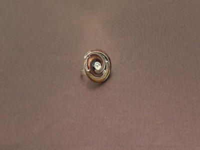 Bague réglable en métal argenté strass